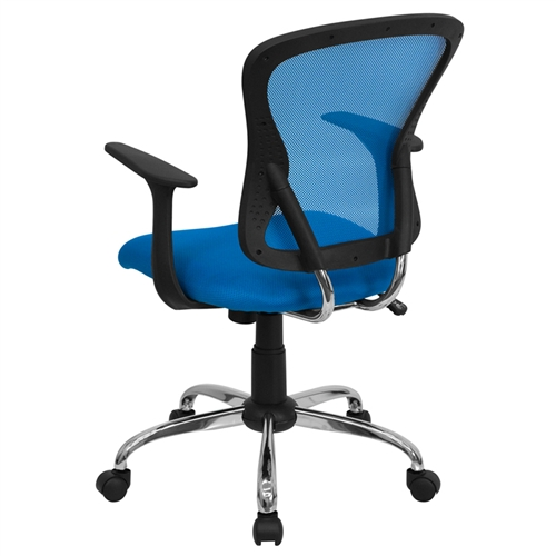 mid back blue mesh office chair with chrome finished base h 8369f bl