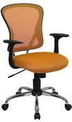 Mid-Back Orange Mesh Office Chair with Chrome Finished Base by Flash Furniture