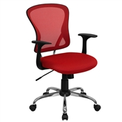 Mid-Back Red Mesh Office Chair with Chrome Finished Base by Flash Furniture