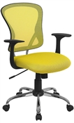 Mid-Back Yellow Mesh Office Chair with Chrome Finished Base by Flash Furniture