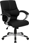 Mid-Back Black Leather Contemporary Manager's Office Chair by Flash Furniture