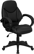 Mid-Back Black Leather Contemporary Office Chair by Flash Furniture