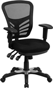 Mid-Back Black Mesh Chair with Triple Paddle Control by Flash Furniture