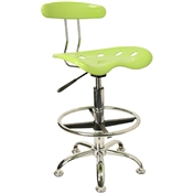 Vibrant Apple Green and Chrome Drafting Stool with Tractor Seat by Flash Furniture