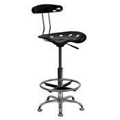 Vibrant Black and Chrome Drafting Stool with Tractor Seat by Flash Furniture