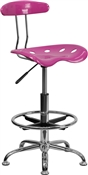 Vibrant Candy Heart and Chrome Drafting Stool with Tractor Seat by Flash Furniture