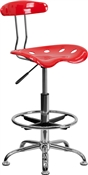 Vibrant Cherry Tomato and Chrome Drafting Stool with Tractor Seat by Flash Furniture