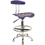 Vibrant Deep Blue and Chrome Drafting Stool with Tractor Seat by Flash Furniture