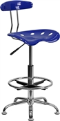 Vibrant Nautical Blue and Chrome Drafting Stool with Tractor Seat by Flash Furniture