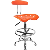 Vibrant Orange and Chrome Drafting Stool with Tractor Seat by Flash Furniture