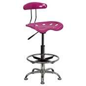 Vibrant Pink and Chrome Drafting Stool with Tractor Seat by Flash Furniture