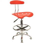 Vibrant Red and Chrome Drafting Stool with Tractor Seat by Flash Furniture