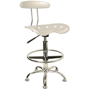 Vibrant Silver and Chrome Drafting Stool with Tractor Seat by Flash Furniture