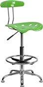 Vibrant Spicy Lime and Chrome Drafting Stool with Tractor Seat by Flash Furniture