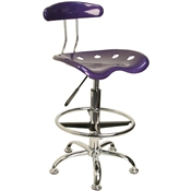 Vibrant Violet and Chrome Drafting Stool with Tractor Seat by Flash Furniture