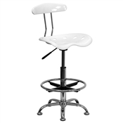 Vibrant White and Chrome Drafting Stool with Tractor Seat by Flash Furniture