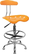 Vibrant Orange-Yellow and Chrome Drafting Stool with Tractor Seat by Flash Furniture