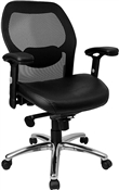 Mid-Back Super Mesh Office Chair with Black Italian Leather Seat and Knee Tilt Control by Flash Furniture