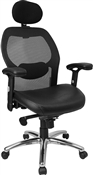 High Back Super Mesh Office Chair with Black Italian Leather Seat and Knee Tilt Control by Flash Furniture