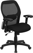 Mid-Back Super Mesh Office Chair with Black Fabric Seat by Flash Furniture