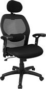 High Back Super Mesh Office Chair with Black Fabric Seat by Flash Furniture