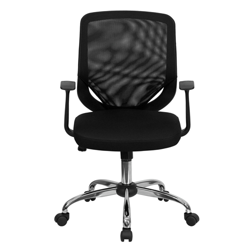 mid back black mesh office chair with mesh fabric seat lf w95 mesh