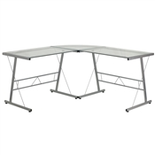 Glass L-Shape Computer Desk With Silver Frame Finish By Flash Furniture