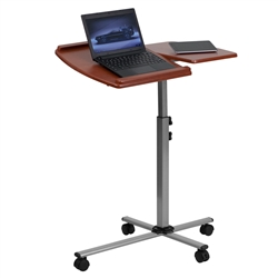 Angle And Height Adjustable Mobile Laptop Computer Table With Cherry Top By Flash Furniture
