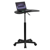 Height Adjustable Mobile Laptop Computer Desk With Black Top By Flash Furniture