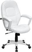 Eco-Friendly White Leather Mid-Back Executive Office Chair by Flash Furniture QD-5058M-WHITE-GG