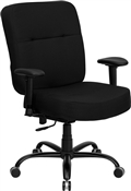 HERCULES Series 400 lb. Capacity Big & Tall Black Fabric Office Chair with Arms and Extra WIDE Seat by Flash Furniture