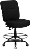 HERCULES Series 400 lb. Capacity Big & Tall Black Fabric Drafting Stool with Extra WIDE Seat by Flash Furniture