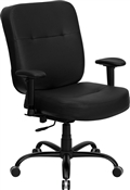 HERCULES Series 400 lb. Capacity Big and Tall Black Leather Office Chair with Arms and Extra WIDE Seat by Flash Furniture