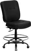 HERCULES Series 400 lb. Capacity Big & Tall Black Leather Drafting Stool with Extra WIDE Seat by Flash Furniture