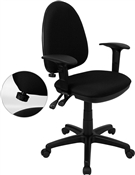 Mid-Back Black Fabric Multi-Functional Task Chair with Arms and Adjustable Lumbar Support by Flash Furniture