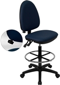 Mid-Back Navy Blue Fabric Multi-Functional Drafting Stool with Adjustable Lumbar Support by Flash Furniture