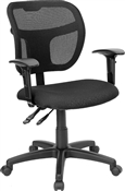 Mid-Back Mesh Task Chair with Black Fabric Seat and Arms by Flash Furniture