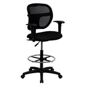 Mid-Back Mesh Drafting Stool with Black Fabric Seat and Arms by Flash Furniture