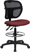 Mid-Back Mesh Drafting Stool with Burgundy Fabric Seat by Flash Furniture