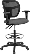 Mid-Back Mesh Drafting Stool with Gray Fabric Seat and Arms by Flash Furniture