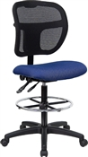 Mid-Back Mesh Drafting Stool with Navy Blue Fabric Seat by Flash Furniture