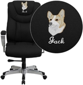 Flash Embroidered HERCULES Series Big & Tall 400 lb. Rated Black Fabric Executive Swivel Chair with Adjustable Arms - GO-1534-BK-FAB-EMB-GG