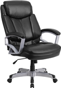 Flash HERCULES Series Big & Tall 500 lb. Rated Black Leather Executive Swivel Chair with Arms - GO-1850-1-LEA-GG