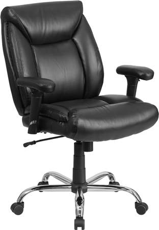 Flash HERCULES Series Big & Tall 400 lb. Rated Black Leather Swivel Task Chair with Adjustable Arms - GO-2073-LEA-GG