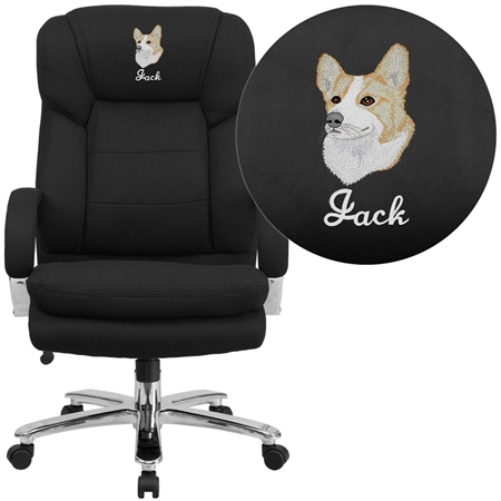 Flash Embroidered HERCULES Series 24/7 Intensive Use Big & Tall 500 lb. Rated Black Fabric Executive Swivel Chair with Loop Arms - GO-2078-EMB-GG