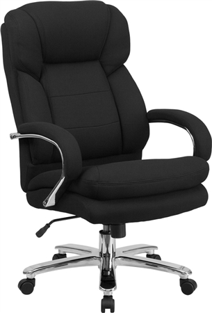 Flash HERCULES Series 24/7 Intensive Use Big & Tall 500 lb. Rated Black Fabric Executive Swivel Chair with Loop Arms - GO-2078-GG