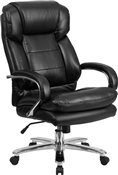 Flash HERCULES Series 24/7 Intensive Use Big & Tall 500 lb. Rated Black Leather Executive Swivel Chair with Loop Arms - GO-2078-LEA-GG