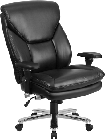 Flash HERCULES Series 24/7 Intensive Use Big & Tall 400 lb. Rated Black Leather Executive Swivel Chair with Lumbar Knob - GO-2085-LEA-GG