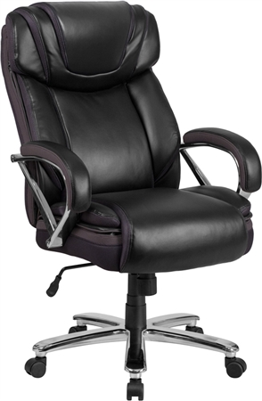 Flash HERCULES Series Big & Tall 500 lb. Rated Black Leather Executive Swivel Chair with Extra Wide Seat - GO-2092M-1-BK-GG