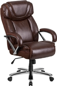 Flash HERCULES Series Big & Tall 500 lb. Rated Brown Leather Executive Swivel Chair with Extra Wide Seat - GO-2092M-1-BN-GG